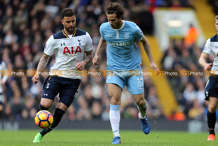 Kyle Walker of Tottenham Hotspur and Ramadan Sobhi of Stoke City during Tottenham Hotspur vs Stoke City, Premier League Football at White Hart Lane on 26th February 2017