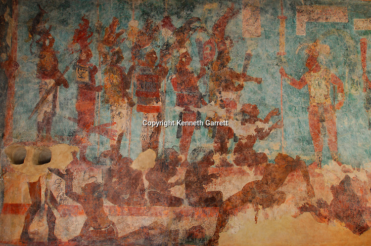 Maya rise and Fall; Bonampak Murals; Chiapas; Mexico; Warrior scenes; captives; torture; sacrifice; Ancient Cultures; Maya; Mayan; Bonampak