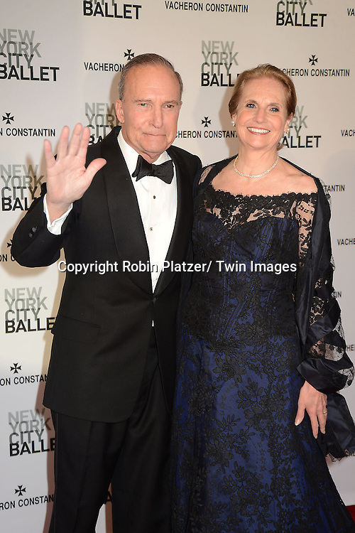 Larry Kudlow and wife attends the New York City Ballet Spring 2013  Gala on May 8, 2013 at The David H Koch Theater in LIncoln Center in New York City.
