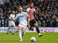 Leeds United's Luke Ayling gets the better of Brentford's Nico Yennaris<br /> <br /> Photographer Alex Dodd/CameraSport<br /> <br /> The EFL Sky Bet Championship - Leeds United v Brentford - Saturday 6th October 2018 - Elland Road - Leeds<br /> <br /> World Copyright &copy; 2018 CameraSport. All rights reserved. 43 Linden Ave. Countesthorpe. Leicester. England. LE8 5PG - Tel: +44 (0) 116 277 4147 - admin@camerasport.com - www.camerasport.com