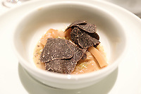 The dim sum, black truffle, prik nam pla & hazelnut at Restaurant Tim Raue, Berlin, Germany. Photo Sydney Low