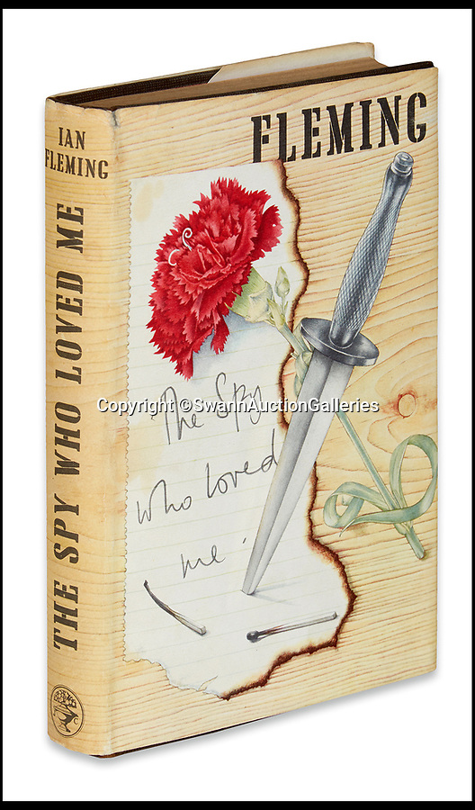 BNPS.co.uk (01202)558833<br /> Pic:  SwannAuctionGalleries/BNPS<br /> <br /> First edition of The Spy Who Loved Me,1962. Estimate $500 to $750.<br /> <br /> A single owner collection of historic James Bond first editions inscribed by Ian Fleming have emerged for sale for £55,000. ($70,000)<br /> <br /> The marquee lot is a first edition of Goldfinger (1959) given by the author to legendary golfer Sir Henry Cotton, who won The Open three times.<br /> <br /> Fleming references the chapters containing the classic golf match between Bond and the villain Auric Goldfinger, whose caddy was Oddjob, in the book.<br /> <br /> The collection of 13 books is being sold by a private collector with US based Swann Auction Galleries.