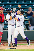 Chris Curley (4) of the Winston-Salem Dash fists bumps with teammate Joe De Pinto (7) after hitting a home run against the Potomac Nationals at BB&T Ballpark on July 8, 2013 in Winston-Salem, North Carolina.  The Dash defeated the Nationals 12-9.  (Brian Westerholt/Four Seam Images)