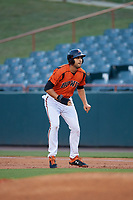 Bowie Baysox Ryan Ripken (22) leads off first base during an Eastern League game against the Richmond Flying Squirrels on August 15, 2019 at Prince George's Stadium in Bowie, Maryland.  Bowie defeated Richmond 4-3.  (Mike Janes/Four Seam Images)