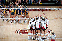 STANFORD, CA - September 2, 2010: Team celebrates during a volleyball match against UC Irvine in Stanford, California. Stanford won 3-0.