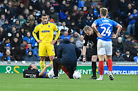Injury concern for Marcus Harness of Portsmouth during Portsmouth vs AFC Wimbledon, Sky Bet EFL League 1 Football at Fratton Park on 11th January 2020