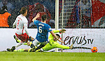 Yussuf Poulsen beats Matt Gilks to score the third for RB Leipzig