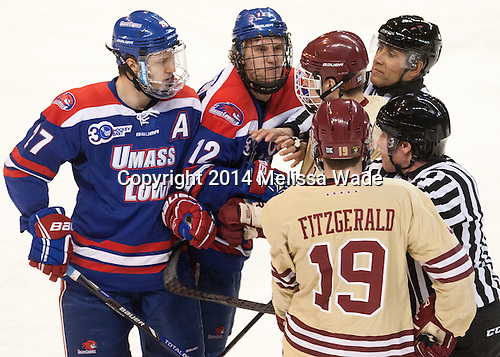 Zack Kamrass (UML - 27), Josh Holmstrom (UML - 12), Steven Santini (BC - 6), Ryan Fitzgerald (BC - 19) - The Boston College Eagles defeated the University of Massachusetts Lowell River Hawks 4-3 in the NCAA Northeast Regional final on Sunday, March 30, 2014, at the DCU Center in Worcester, Massachusetts.
