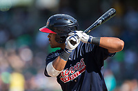 Micah Johnson (2) of the Gwinnett Braves at bat against the Charlotte Knights at BB&T BallPark on July 16, 2017 in Charlotte, North Carolina.  The Knights defeated the Braves 5-4.  (Brian Westerholt/Four Seam Images)
