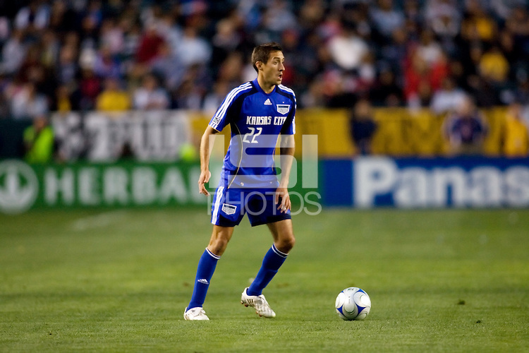 Kansas City Wizards midfielder Davy Arnaud (22) looks for a teammate during a MLS match. The LA Galaxy defeated the Kansas City Wizards 3-1 at Home Depot Center stadium in Carson, Calif., on Saturday, May 24, 2008.