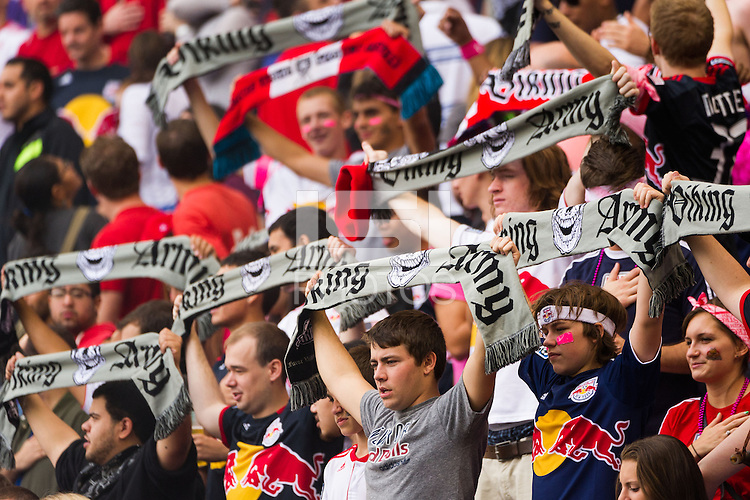 New York Red Bulls fans. The Chicago Fire defeated the New York Red Bulls 2-0 during a Major League Soccer (MLS) match at Red Bull Arena in Harrison, NJ, on October 06, 2012.