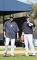 Hiroki Kuroda, Masahiro Tanaka(Yankees),<br /> FEBRUARY 17, 2014 - MLB : Hiroki Kuroda (L) and Masahiro Tanaka of the New York Yankees during the teams spring training baseball camp at George M. Steinbrenner Field in Tampa, Florida. United States.<br /> (Photo by Thomas Anderson/AFLO) (JAPANESE NEWSPAPER OUT)