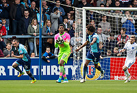 Goalkeeper Jamal Blackman of Wycombe Wanderers (on loan from Chelsea) during the Sky Bet League 2 match between Wycombe Wanderers and Mansfield Town at Adams Park, High Wycombe, England on the 14th April 2017. Photo by Liam McAvoy.