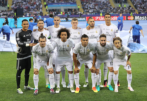 28.05.2016. Milan, Italy.  Real's players showing goalkeeper Keylor Navas, Sergio Ramos, Pepe, Toni Kroos, Karim Benzema, Cristiano Ronaldo, (front), Gareth Bale, Marcelo, Casemiro, Dani Carvajal, Luka Modric,  pose for the team photo before the UEFA Champions League Final between Real Madrid and Atletico Madrid at the Stadio Giuseppe Meazza in Milan, Italy, 28 May 2016.