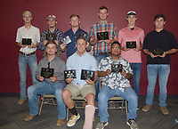 RICK PECK/SPEICAL TO MCDONALD COUNTY PRESS<br /> Baseball awards for 2019 - Front row, left to right: Izak Johnson (Pitcher of the Year and Four-Year Commitment), Micah Burkholder (Teammate Award and Four-Year Commitment) and Omar Manuel (Defensive Player of the Year). Back row: Blaine Lemm (Baserunner of the Year), Joe Brown (Dirtbag Award and Four-Year Commitment), Lakley Roessler (Co-Defensive Player of the Year and Four-Year Commitment), Charlie Moore (Four-Year Commitment), Kameron Hopkins (Hitter of the Year) and Cole Martin (Newcomer of the Year). Not present: Boston Dowd (Competitor Award and Four-Year Commitment) and Jorden Platter (Four-Year Commitment).
