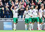 Stockholm 2015-04-25 Fotboll Allsvenskan Hammarby IF - &Aring;tvidabergs FF :  <br /> Hammarbys Nahir Besara jublar efter sitt 2-0 m&aring;l och g&ouml;r ett tecken mot himlen bredvid Kennedy Bakircioglu och lagkamrater under matchen mellan Hammarby IF och &Aring;tvidabergs FF <br /> (Foto: Kenta J&ouml;nsson) Nyckelord:  Fotboll Allsvenskan Tele2 Arena Hammarby HIF Bajen &Aring;tvidaberg &Aring;FF jubel gl&auml;dje lycka glad happy