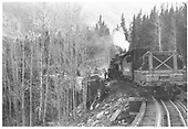 D&amp;RGW Monarch Branch loaded limestone train wreck in either March or October 29, 1952.  There were two different wrecks in 1952.<br /> D&amp;RGW  Monarch Branch, CO  Taken by McDowell, Ted - 1952