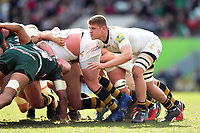 Jack Willis of Wasps in action at a scrum. Aviva Premiership match, between Leicester Tigers and Wasps on March 25, 2018 at Welford Road in Leicester, England. Photo by: Patrick Khachfe / JMP