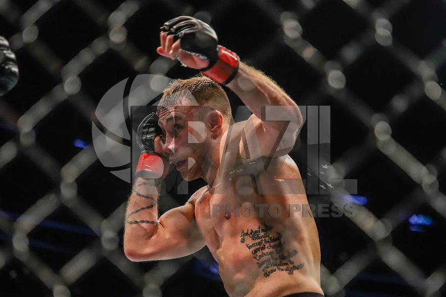BOSTON, EUA, 18.10.2019 - UFC-BOSTON - Lutadores Kyle Bochniak (vermelho) e Sean Woodson (azul) durante UFC Fight Night no Td Garden em Boston no Estado de Massachusetts nos Estados Unidos na noite desta sexta-feira, 18. (Foto: Vanessa Carvalho/Brazil Photo Press/Folhapress)