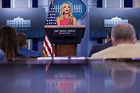 White House Press Secretary Kayleigh McEnany speaks during a news conference in the James S. Brady Press Briefing Room at the White House in Washington D.C., U.S., on Monday, June 8, 2020.  McEnany stated that United States President Donald J. Trump is against defunding police departments, after the death of George Floyd in police custody has pushed cities across the United States to consider doing so.  Credit: Stefani Reynolds / CNP/AdMedia
