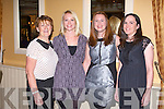 KERRY GAA: Having great fun at the Kerry GAA supporters club annual dinner at the Ballygarry House hotel, Tralee on Saturday l-r: Kit Ryan, Maura King, Trish King and Eva Corcoran.