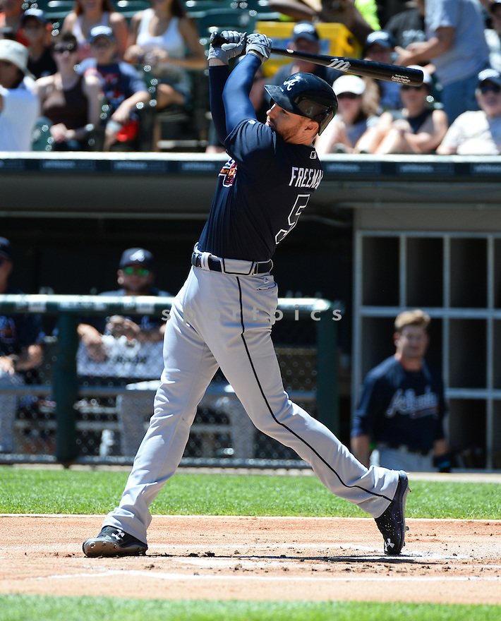 Atlanta Braves Freddie Freeman (5) during a game against the Chicago White Sox on July 9, 2016 at US Cellular Field in Chicago, IL. The White Sox beat the Braves 5-4.