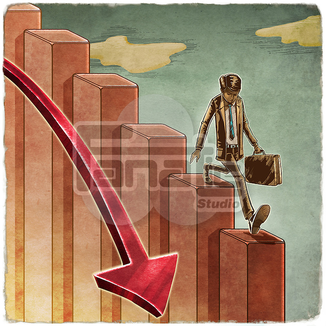 Businessman with briefcase moving down the bars along with arrow sign depicting economic recession