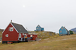 Colorful houses of the remote village Tasiussaq in Greenland.