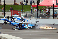 May 28, 2017; Indianapolis, IN, USA; IndyCar Series driver Scott Dixon (9) goes airborne after colliding with Jay Howard (77) during the 101st Running of the Indianapolis 500 at Indianapolis Motor Speedway. Mandatory Credit: Mark J. Rebilas-USA TODAY Sports