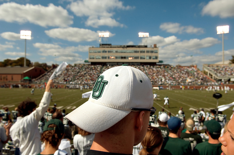 Students watch the 2007 Homecoming football game versus Eastern Michigan.