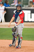 Catcher Travis D'Arnaud #5 of the Lakewood BlueClaws on defense versus the Kannapolis Intimidators at Fieldcrest Cannon Stadium May 16, 2009 in Kannapolis, North Carolina. (Photo by Brian Westerholt / Four Seam Images)