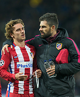 Antoine Griezmann of Club Atletico de Madrid with Club doctor Gorka de Abajo at full time during the UEFA Champions League QF 2nd Leg match between Leicester City and Atletico Madrid at the King Power Stadium, Leicester, England on 18 April 2017. Photo by Andy Rowland.