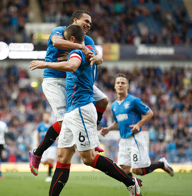 Arnold Peralta celebrates with scorer Lee McCulloch