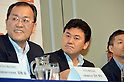 June 29th, 2011, Tokyo, Japan - Hiroshi Mikitani, center, CEO of Japan's online retailer Rakuten attends a news conference in Tokyo on Wednesday, June 29, 2011. Rakuten announced its cooperation with KDDI for electronic money.(Photo by Koichi Mitsui/AFLO)