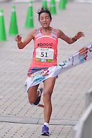 MEDELLÍN -COLOMBIA-08-09-2013. Ines Melchor fue la ganadora en la categoría damas 21 km con un tiempo de 1:13:25. La Maratón de las Flores certamen deportivo de calle más importante de la ciudad y el pionero en el país, tuvo recorridos en las distancias de 42, 21, 10, 5 y 2 Kilómetros por las calles de Medellín./ Ines Melchor was the winner in the 21km women category with a time of 1:13:25. The Maraton de las Flores the most important sport event in the city and pioneer in the country had  different tours in the distances of 42, 21, 10, 5 and 2 kms on the streets of Medellin.  Photo:VizzorImage/Luis Ríos/STR