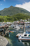 USA, Alaska, Ketchikan, fishing boats and kayaks moored in the Ketchikan Marina