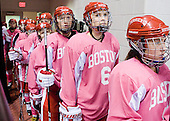Kayla Tutino (BU - 8), Shannon Stoneburgh (BU - 7), Carly Warren (BU - 6), Meghan Riggs (BU - 5) - The Boston University Terriers defeated the visiting Northeastern University Huskies 3-2 on Saturday, January 28, 2012, at Agganis Arena in Boston, Massachusetts.