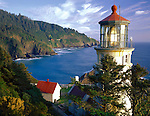Oregon Coast, Lane County<br /> Heceta Head lighthouse and Sea Lion Point on Oregon's central coast