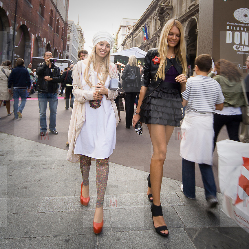 Via Mercanti durante la settimana della moda a Milano<br /> <br /> Via Mercanti during the Milan fashion Week