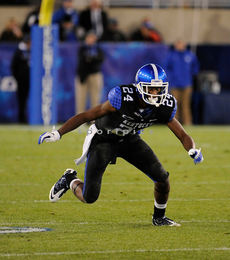 RANDALL BURDEN, of the Kentucky Wildcats, in action during Kentucky's game against the Mississippi State Bulldogs on October 29, 2011 at Commonwealth Stadium in Lexington, KY..Mississippi State beat Kentucky 28-16..