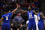 MILWAUKEE, WI - MARCH 18: Middle Tennessee Blue Raiders forward JaCorey Williams (22) and guard Antwain Johnson (2) high five during the second half of the 2017 NCAA Men's Basketball Tournament held at BMO Harris Bradley Center on March 18, 2017 in Milwaukee, Wisconsin. (Photo by Jamie Schwaberow/NCAA Photos via Getty Images)