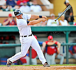 9 March 2012: Detroit Tigers catcher Bryan Holaday loses his grip on the bat during a Spring Training game against the Philadelphia Phillies at Joker Marchant Stadium in Lakeland, Florida. The Phillies defeated the Tigers 7-5 in Grapefruit League action. Mandatory Credit: Ed Wolfstein Photo