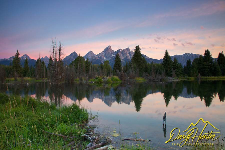 Shwabackers Landing Sunrise at the beaver pond in Grand Teton National Park
