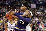COLUMBUS, OH - APRIL 1: Arike Ogunbowale #24 of the Notre Dame Fighting Irish  and Teaira McCowan #15 of the Mississippi State Bulldogs fight for a rebound during the championship game of the 2018 NCAA Division I Women's Basketball Final Four at Nationwide Arena in Columbus, Ohio. (Photo by =NAME=/NCAA Photos via Getty Images)