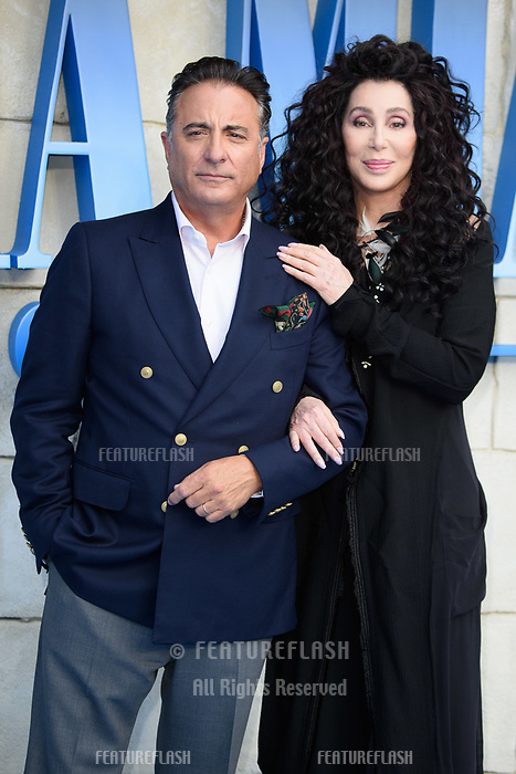 "Andy Garcia & Cher arriving for the ""Mama Mia! Here We Go Again"" world premiere at the Eventim Apollo, Hammersmith, London, UK. <br /> 16 July  2018<br /> Picture: Steve Vas/Featureflash/SilverHub 0208 004 5359 sales@silverhubmedia.com"