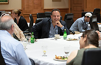 """Pre-talk luncheon with students and staff.<br /> Tal Becker, one of Israel's top peace negotiators and senior fellow at the Shalom Hartman Institute in Jerusalem, spoke on April 24, 2018 as Occidental College's 2018 Jack Kemp '57 Distinguished Lecturer. Becker spoke about """"The Israeli-Palestinian Conflict in Jewish Discourse: Identity, Justice and Religion"""" in Choi Auditorium.<br /> (Photo by Marc Campos, Occidental College Photographer)"""