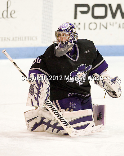 Derek Mohney (Curry - 30) - The Wentworth Institute of Technology Leopards defeated the Curry College Colonels 1-0 (OT) to win the ECAC Northeast championship on Saturday, March 3, 2012, at Matthews Arena in Boston, Massachusetts.