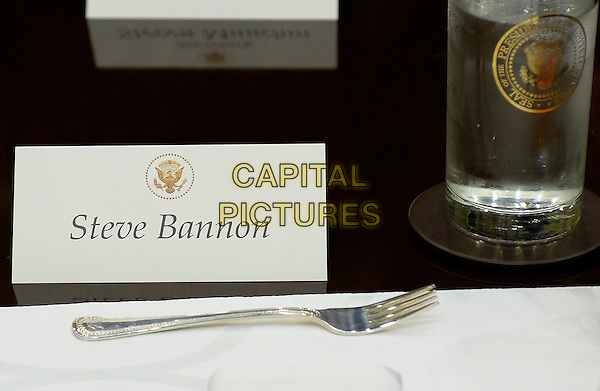United States President Donald Trump's Chief Strategist Steve Bannon's name tag sits on the a table before a lunch in the Roosevelt Room of the White House on February 22, 2017 in Washington, DC. <br /> CAP/MPI/CNP/RS<br /> &copy;RS/CNP/MPI/Capital Pictures