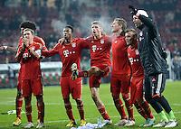 FUSSBALL  DFB-POKAL  ACHTELFINALE  SAISON 2012/2013    FC Augsburg - FC Bayern Muenchen        18.12.2012 Philipp Lahm, David Alaba, Thomas Mueller, Bastian Schweinsteiger, Xherdan Shaqiri (v. li., FC Bayern Muenchen)