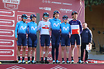 Movistar Team at sign on before the Strade Bianche Women Elite 2019 running 133km from Siena to Siena, held over the white gravel roads of Tuscany, Italy. 9th March 2019.<br /> Picture: Seamus Yore | Cyclefile<br /> <br /> <br /> All photos usage must carry mandatory copyright credit (© Cyclefile | Seamus Yore)